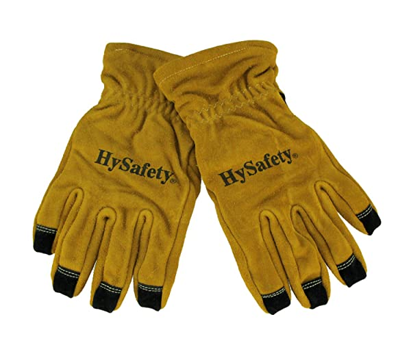 Hysafety Cowhide Leather Reinforced Palm Structural Firefighter Gloves (Color: Brown, Tamaño: X-Large)