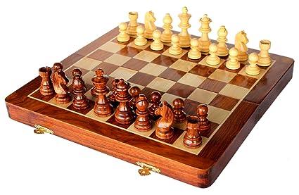 SouvNear 30 x 30 Cm Ultime Voyage en Bois Jeu d'échecs avec des Pièces Magnétiques Staunton et Plateau de jeu Pliable (Dédouble en cas de Stockage) - Fait à la Main dans Palissandre avec Finition de Noyer - Jeux de Soci&