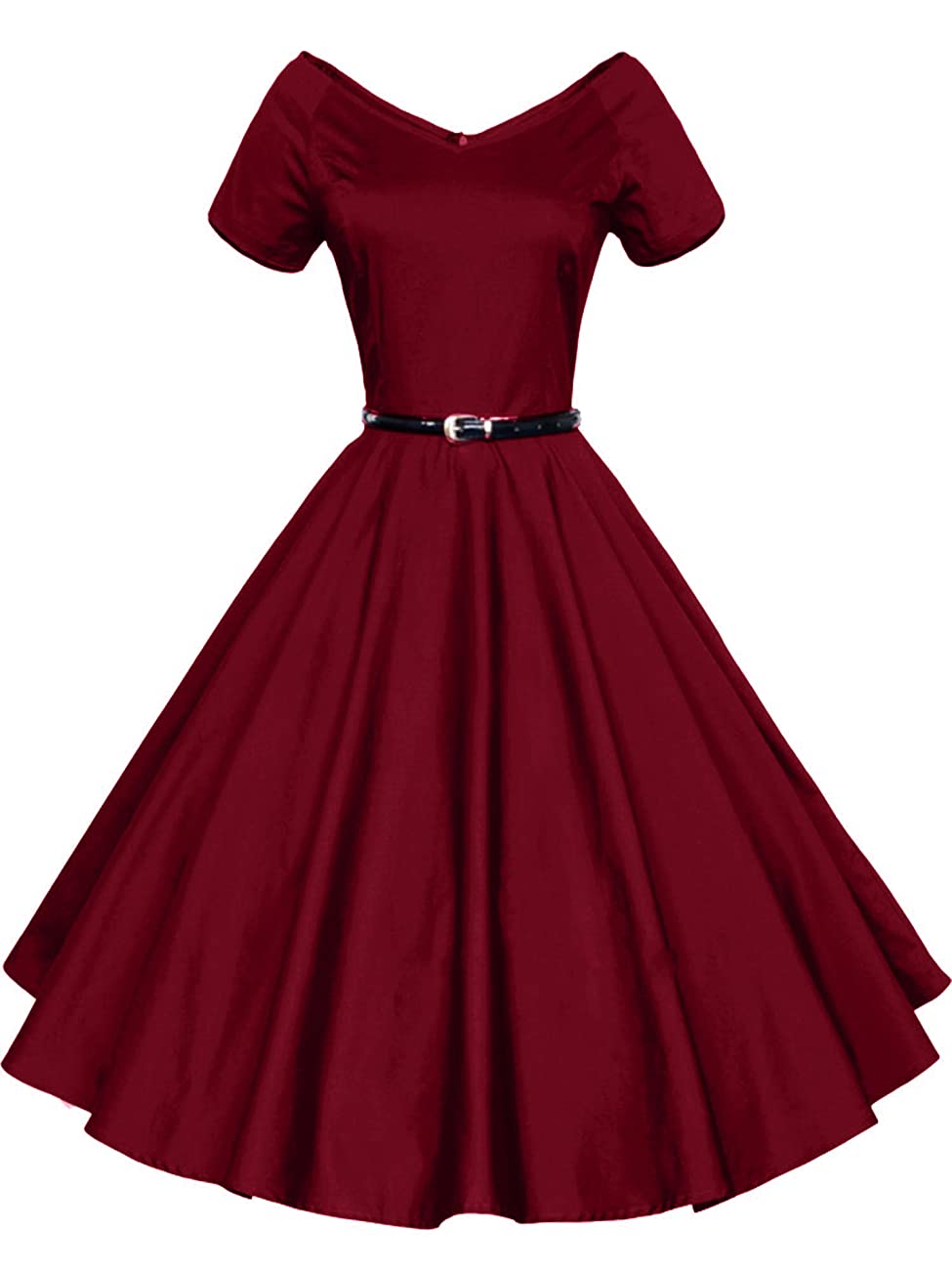 iLover Women 1950s V-Neck Vintage Rockabilly Swing Evening Party Dress 0