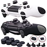 9CDeer 2 Pieces of Silicone Protective Sleeve Case Cover + 8 Thumb Grips Analog Caps + 2 Sets of Dust Proof Plug for PS4/Slim/Pro Controller, Black+White (Color: Black+White, Tamaño: PlayStation 4)