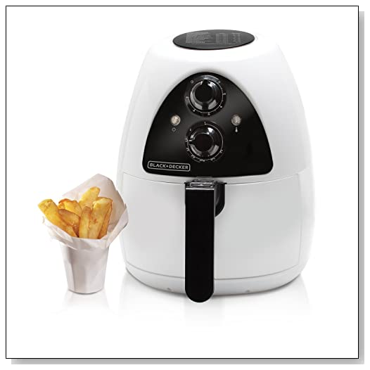 Black & Decker HF100WD Purify 2-Liter Air Fryer, Black/White