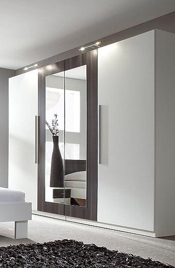 Dreams4Home Kleiderschrank 'Brina' - Kleiderschrank, Schrank, 2 Spiegelturen, 2 Holzturen, B/H/T: 228 x 214 x 58 cm, Spiegelschrank, Schlafzimmerschrank, Schlafzimmer, 1 Kleiderstange, 5 Einlegeböden, in weiß / schwarz kernnuss