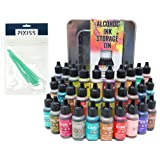 30x Tim Holtz Alcohol Ink .5oz Bottles (Assorted Colors), Tim Holtz Alcohol Ink Storage Tin (Holds All 30 Inks), 8X Pixiss Ink Blending Tools