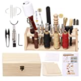 UOOU Leathercraft Hand Tools Kit with Instructions,Leathercraft Working Tools,Stamping Set,Prong Punch,Hand Sewing Stitching, for DIY Leather Working and Saddle Making (Color: 52 Pcs)