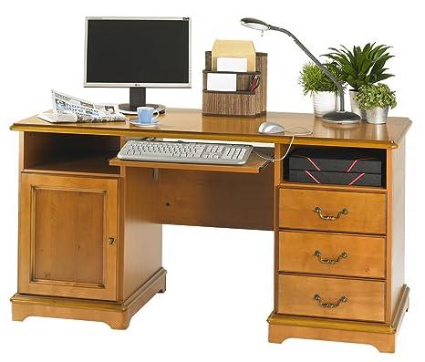 Simmob LYON850MN Bureau Ministre Informatique Bois Merisier 64,8 x 144,80 x 74 cm