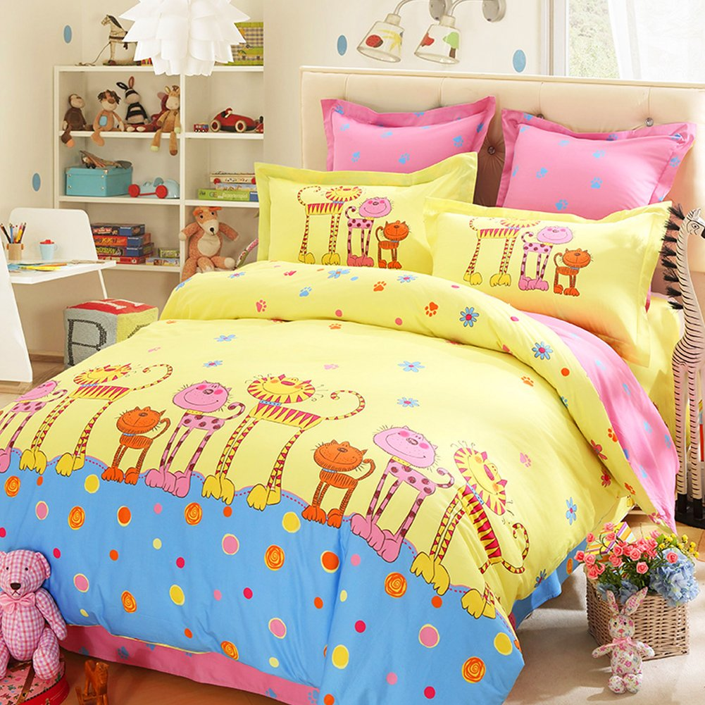 LOVO Kids and the Cute Cat 100% Cotton 300TC Percale 3-Piece Bedding Set Duvet Cover,Flat Sheet and Pillow Cover Twin