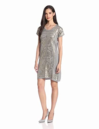 Design History Women's Embellished A-Line Dress, Colony Heather Grey, Small