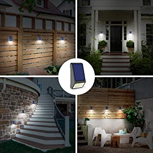 LOHAS Solar Fence Post Lights, IP65 Waterprooft Mini Solar Lights Outdoor, 8 LEDs Deck Post Solar Light for Security, Outdoor Night Light Daylight 6000K, Auto on/Off Backyard Wall Mount Light, 4Pack (Color: Daylight White 5000k, Tamaño: 6000K Solar Fence Lights-4Pack)