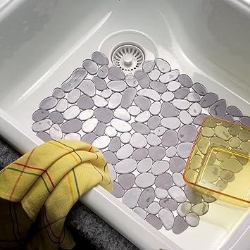 Graphite Large InterDesign Pebblz Kitchen Sink Protector Mat