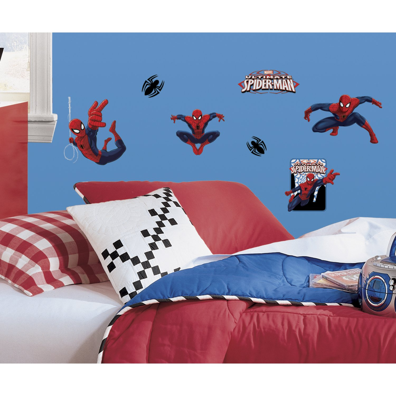 Ultimate Spiderman Peel and Stick Wall Decals, 22 Count