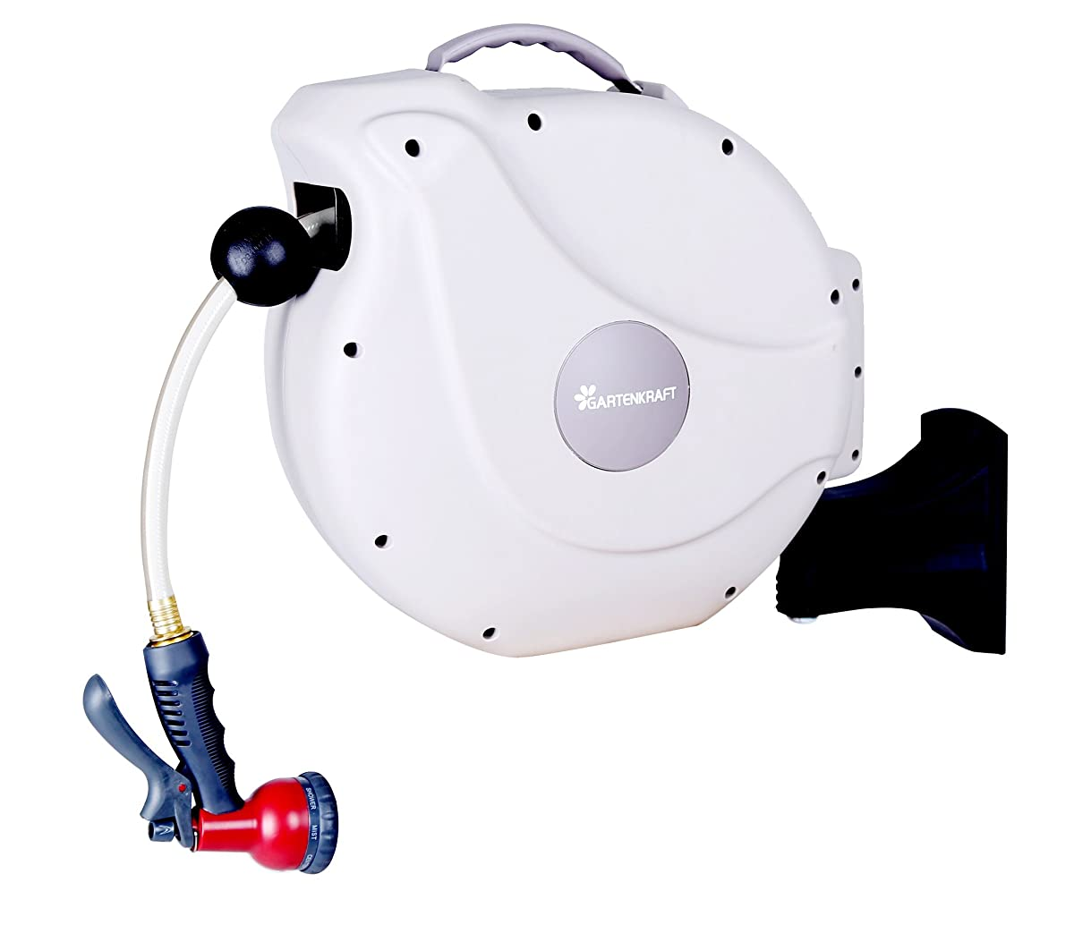 "GartenKraft Retractable Garden Hose Reel, 1/2"" 100 White, 1/2"", 100"