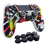PS4 Controller Grip,Hikfly Skin Silicone Gel Controller Cover Case Protector Compatible for PS4/PS4 Slim/PS4 Pro Controller (1x Controller Cover with 8 x FPS Pro Thumb Grip Caps)(White Puke) (Color: White PK, Tamaño: PS4 Print Style)