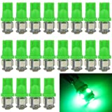 EverBright 20-Pack Green T10 194 168 2825 W5W 5050 5-SMD LED Bulb For Car Replacement Interior Lights Clearance Wedge Dome Trunk Dashboard Bulb License Plate Light Lamp DC 12V (Color: Green, Tamaño: 1156 BA15S 800Lums)