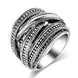 dnswez Vintage Silver Oxidized Intertwined Crossover Statement Ring for Women(9)