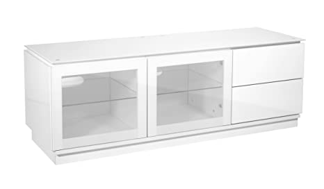 "TV Cabinet| White Gloss Finish fully assembled| Perfect For LED, LCD, PLASMA, 4K, Flat Screen TVs Up To 55"" Inches