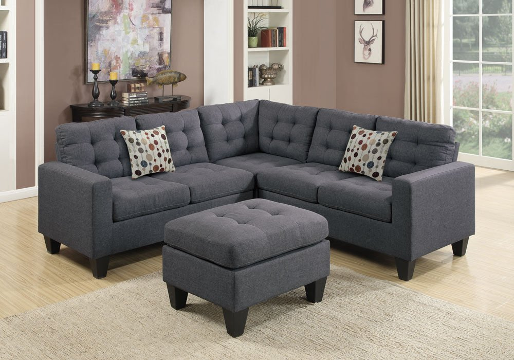 1PerfectChoice Sectional Sofa Couch Loveseat Wedge Tufted Cushion Ottoman Blue Grey Polyfiber