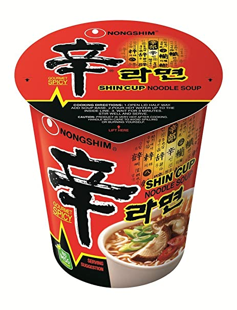 Nongshim Shin Noodle Cup, 2.64 Ounce Packages (Pack of
