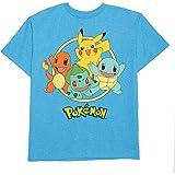 Hybrid Pokemon Big Boys' Pokemon Starters Tee, Aqua L(10/12) (Color: Aqua Heather, Tamaño: L(10/12))