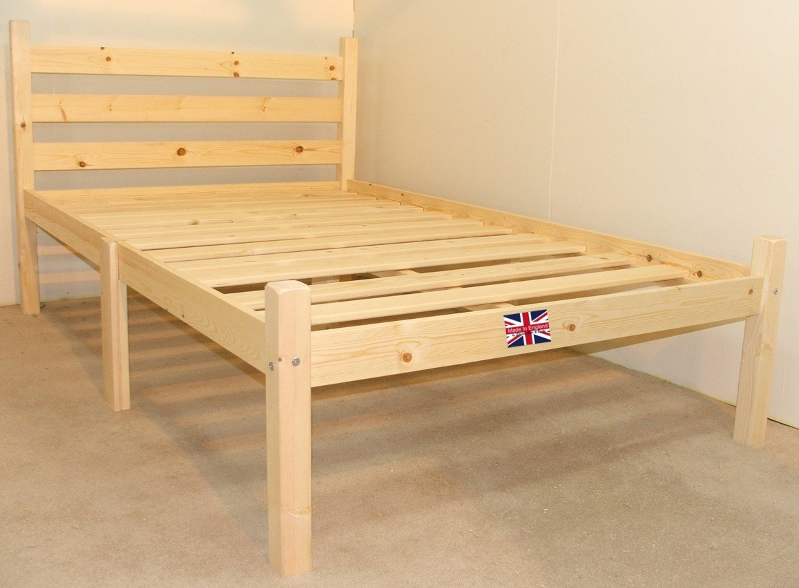 Small Double Pine Bed 4ft (129cm) Double Bed Wooden Frame with extra wide base slats and centre rail   VERY STRONG       reviews and more information