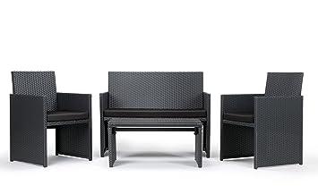 Rattan4Life 4-teilig Neapel Deluxe Polyrattan Gartenmöbel Set, Sofa / Lounge / Gartengarnitur / Kissenbezug, schwarz