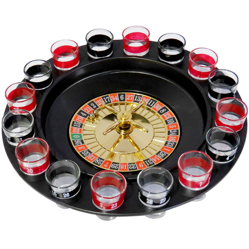 Evelots Adult Roulette Drinking Game - Includes two balls and 16 Shot Glasses lucky shot drinking roulette game 6 cup set
