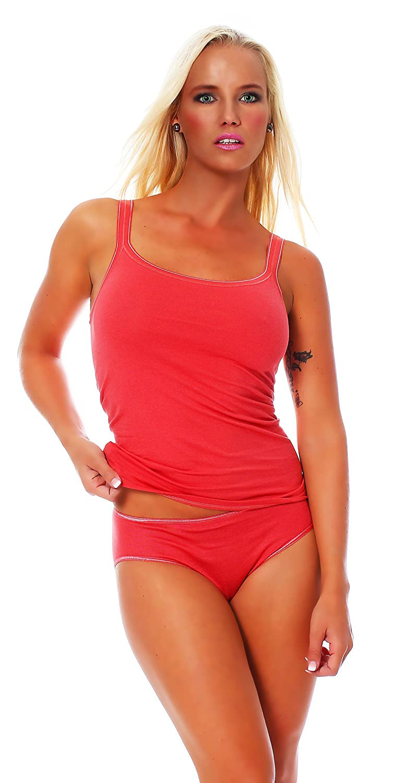 Damen Dessous Top, Unterhemd mit schmalen Trägern von Schöller, Baumwolle mit Elasthan, in der Farbe Terracotta, in den Größen 38 – 48 online bestellen