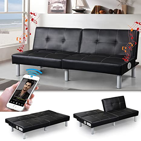 """MILANO"" Bluetooth SCHLAFSOFA SCHWARZ BETTSOFA SCHLAFCOUCH SOFA LOUNGE COUCH"