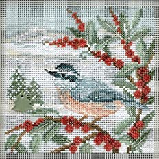 Mill Hill Button & Beads Christmas Counted Cross Stitch Kit w/ Glass Beads & Ceramic Button Nuthatch MH144303