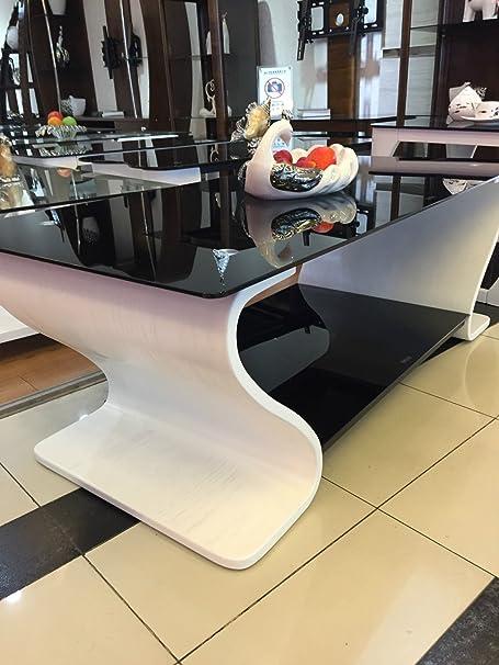 Libro bianco-Tavolino da caffè in legno, con vetro nero