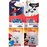 Pop Mickey Black & White Cars & Figures Disney Ford Hot Wheels Steamboat Mickey Exclusive Hot Rod + Coupe Fantasia Card Art + Mickey Mouse & Minnie Nano Collection (Color: Black)