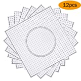 H&W 12PCS 5mm Fuse Beads Boards, Large Clear Pegboards Kits, with Gift 4 Lroning Paper (Tamaño: 12pcs)