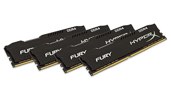 Kingston Technology HyperX Fury Black 64GB 2933MHz DDR4 CL17 DIMM(Kit of 4) Memory HX429C17FBK4/64 (Color: Black, Tamaño: 64GB kit (4 x 16GB))