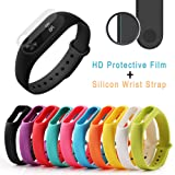 UTL Silicon Wrist Strap WristBand & 2PCS 0.1mm HD Protective Film For Xiaomi Miband2 Fitness Bracelet For Smart smartband