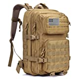 Military Tactical Backpack Large Assault Pack 3 Day Army Rucksacks Outdoor Hunting Backpacks 42L (Color: Khaki)