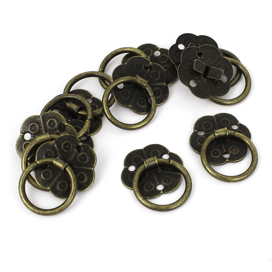 10pcs Home Jewelry Box Cabinet Door Pull Handle Ring Bronze Tone 0