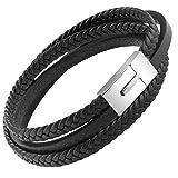 Mens Genuine Leather Bracelet Stainless Steel Mens Bracelet Braided Wristband - (8.27) (Color: Black)