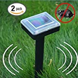 Solar Mole Repeller Ultrasonic Repel Mole, Voles, Gopher, Mice and Rats, Rodent Sonic Repeller Pest Control, Waterproof, Garden Yard Lawn Farm ( 2 Pack )