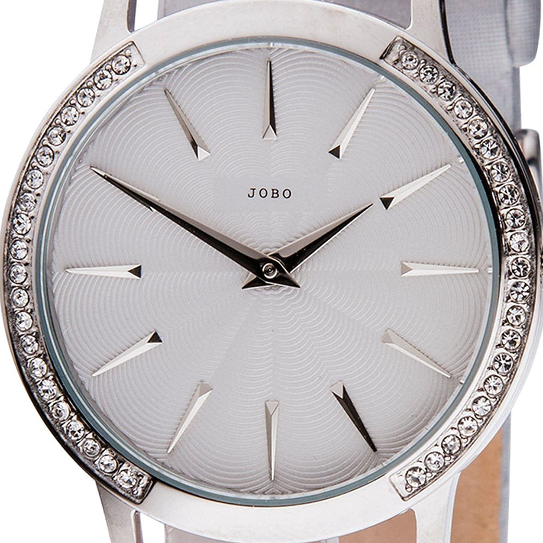 Damen-Armbanduhr Quarz Analog Edelstahl mit Kristall-Elements Lederband günstig online kaufen