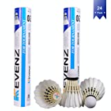 KEVENZ 24-Pack Goose Feather Badminton Shuttlecocks with Great Stability and Durability, High Speed Badminton Birdies Balls (Color: White For Training)