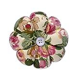 eZAKKA Pin Cushion Polka Pumpkin Wrist Pin Cushions Wearable Needle Pincushions for Sewing Quilting Pins Holder (Flowers) (Color: Retro Flowers)