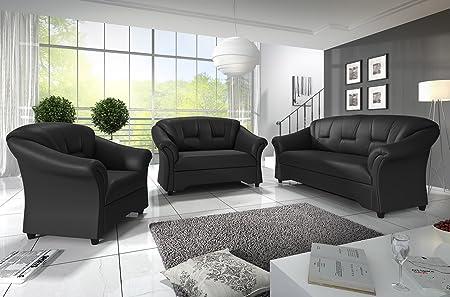 3+2 Seater Texas Sofas Black Faux Leather