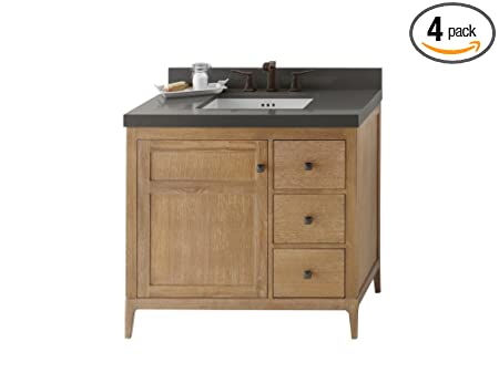 Ronbow 051736-3L-R01_Kit_2 Briella Bathroom Vanity Set in Vintage Honey with Stone Gray WideAppeal Countertop/TechStone Backsplash & White Rectangle Ceramic Undermount Sink, 36""