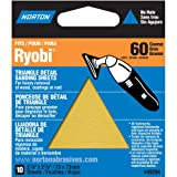 Norton 07660749284 Adhesive Backed Triangle Sanding Sheet for Ryobi Sander, P60 Grit, Coarse Grade (Pack of 10) (Tamaño: 1-(Pack))
