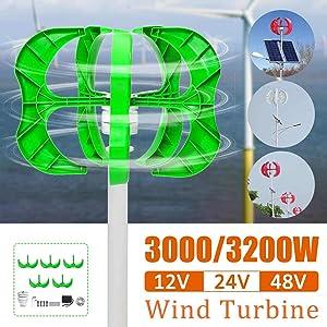 Raenhero 3200W / 3000W Wind Turbine 12/24 / 48V 5 Blade Vertical Wind Turbine Lantern Generator Shaft for Home Street Light + Controller,3.000w,24V (Color: 3.000w, Tamaño: 24V)