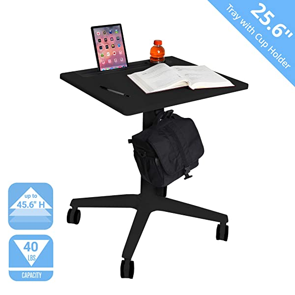 Seville Classics Airlift 25.6 XL Sit-Stand Adjustable Student Classroom Cup Holder Mobile Desk, Black (Color: Black, Tamaño: 26 /w Tray)