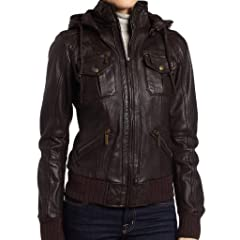 Womens Lambskin Detachable Hoodie Leather Bomber Jacket
