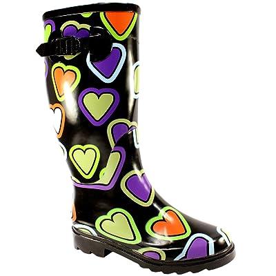 Womens Festival Wellies Rain Boots (Heart Pattern)