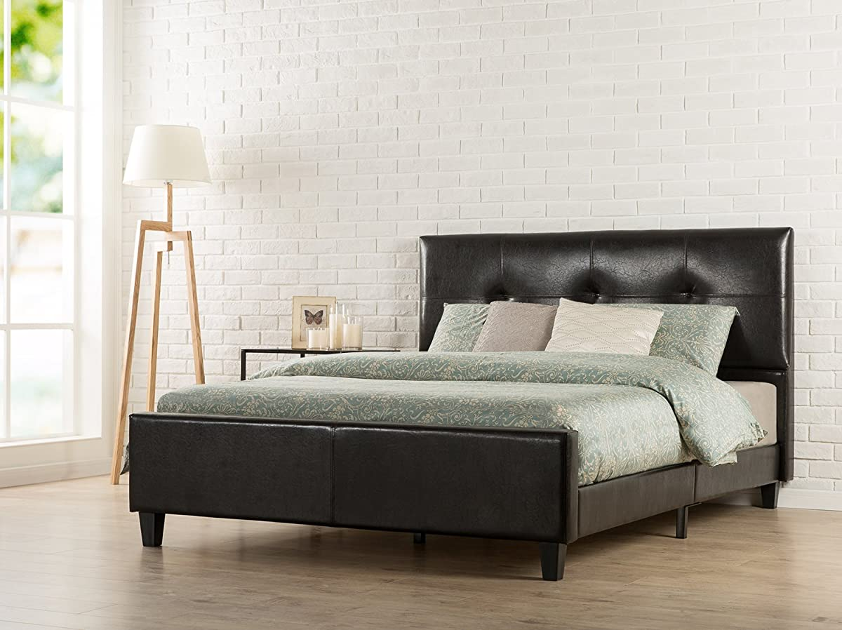 Zinus Tufted Faux Leather Upholstered Platform Bed With