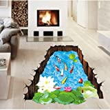 Amaonm Removable Creative 3D Fish Swim in The Hawthorn & Lotus Flowers leaf False Window Wall Decals Wall Stickers Murals for Bathroom Kids room Bedroom Front floor Living room Decorations (Color: Multicolor)