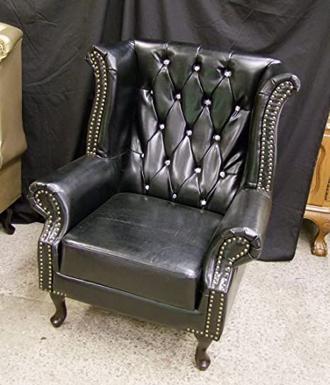 Brand new Chesterfield High Armchair Black with Crystal Diamanté Bycast Leather!